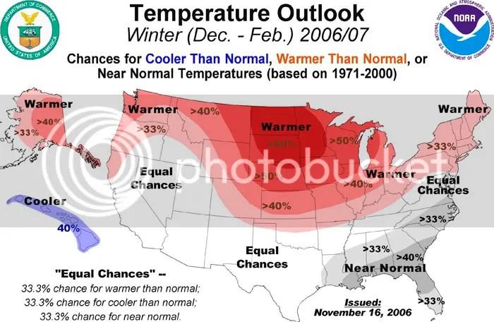 NOAA Winter Temperature Outlook 2006-2007