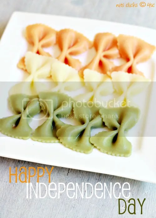 Tri color Pasta - 50+ Ideas for India Independence Day Party, August 15th - craft, Books, recipes & national symbol craft - Tiger, lotus, mango, banyan tree, peacock crafts