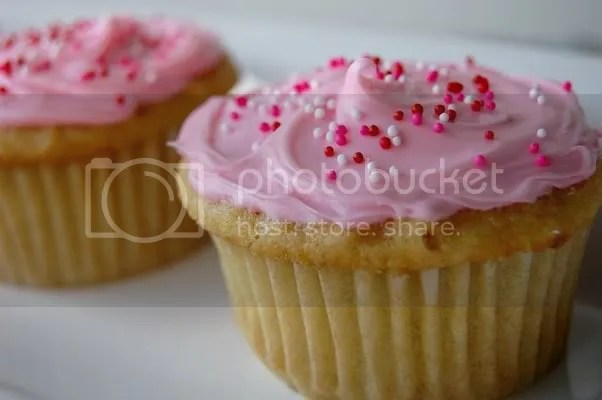 Vanilla Cupcakes with Pink Icing