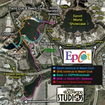 Map of Walk From Epcot to Hollywood Studios Disney
