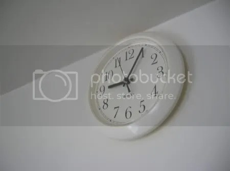 This is the clock on the wall in my kitchen.  Its fairly plain and unexciting.