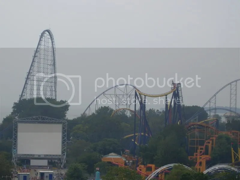 Awesome pic with Millenium Force in the background on the left, middle and right along with Mantis in the middle with Iron Dragon below it. Corkscrew is just peeking into the photo on the lower right.