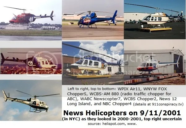 TV News helicopters on 9/11/2001