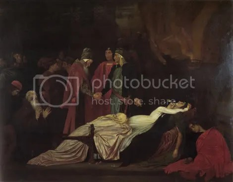The Reconciliation of the Montagues and Capulets over the Dead Bodies of Romeo and Juliet by Lord Frederick Leighton