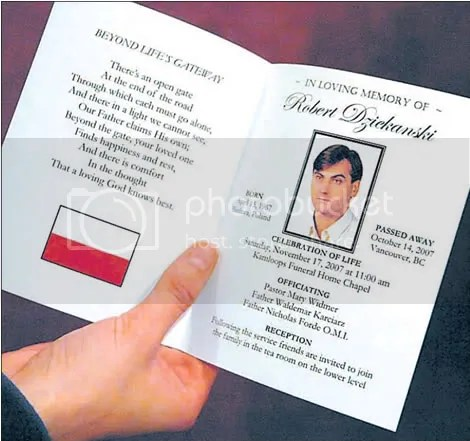 Memorial card for Robert Dziekanski