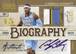 09/10 Panini National Treasures Carmelo Anthony Biography