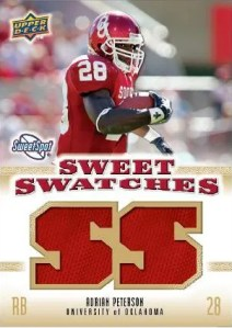 2010 UD NCAA Sweet Spot Adrian Peterson Sweet Swatches Jersey