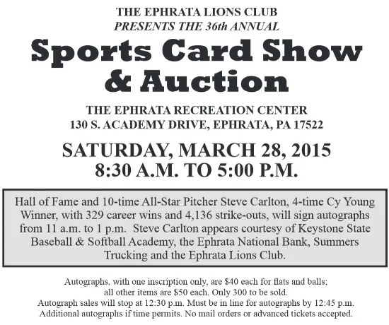 36th Annual Ephrata Lions Club Sports Card Show Sports Card Radio