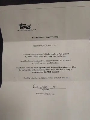 2012 Topps Letter of Authenticity