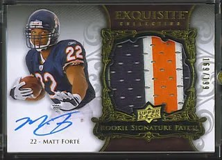 Matt Forte 2008 UD Upper Deck Exquisite Football Rookie RC Patch Auto
