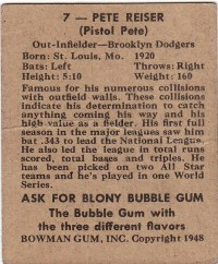 1948 Bowman Pete Reiser Card Back