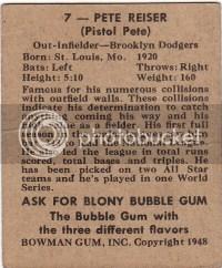 1948 Bowman Pete Reiser Card Back