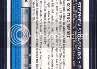 2010 Bowman Stephen Strasburg Superfractor 1/1 Back