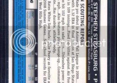 2010 Bowman Chrome Stephen Strasburg Superfractor 1/1 Back