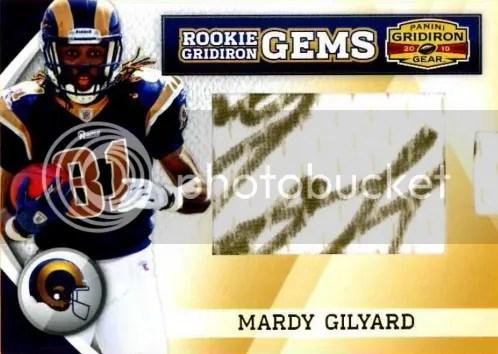 2010 Panini Gridiron Gear RC Hidden Gems Mardy Gilyard Autograph Card