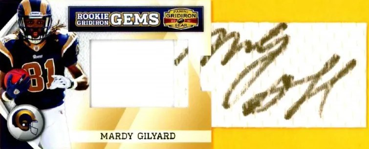 2010 Panini Gridiron Gear RC Hidden Gems Mardy Gilyard Pull Out Autograph Card