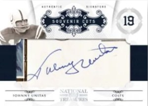 2010 Panini National Treasures Johnny Unitas Souvenir Cut Autograph Card