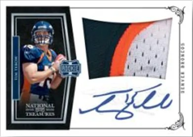 2010 Panini National Treasures Tim Tebow Autograph Patch RC Card
