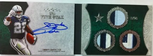 2010 Topps Five Star Emmitt Smith Triple Patch Autograph Book Card