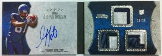 2010 Topps Five Star Autograph Triple Relic Book Golden Tate Card