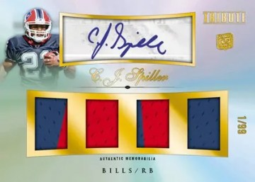 2010 Topps Tribute Football CJ Spiller Quad Jersey Relic Autograph Card