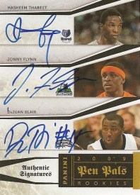 09/10 Panini National Treasures Pen Pals Hasheem Thabeet Jonny Flynn DeJuan Blair Triple Auto