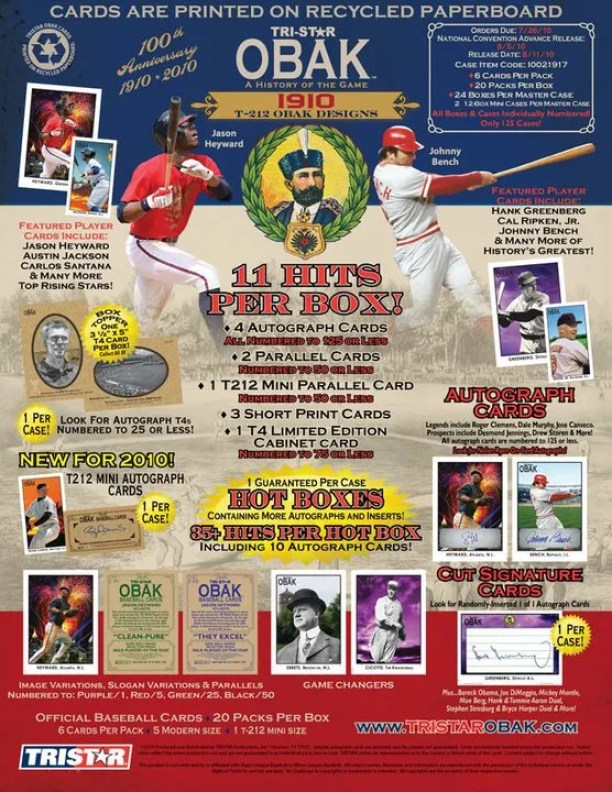 2010 Tri Star Obak Baseball Sell Sheet