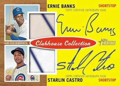 2011 Topps Heritage Ernie Banks Starlin Castro Clubhouse Collection Dual Autograph Relic Card