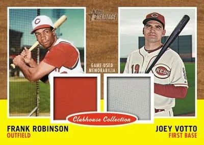 2011 Topps Heritage Frank Robinson Joey Votto Dual Jersey Clubhouse Collection Card