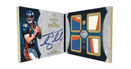 2010 Topps Five Star Tim Tebow Quad Relic Autograph Book #/25