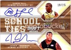 2009/10 Upper Deck Draft Edition School Ties Paul/Johnson