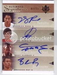 2010/11 Ultimate Basketball Quad Auto Rose/Rubio/McGrady/Roy