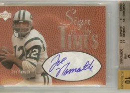 1997 UD Legends Joe Namath Sign of the Time SOTT Autograph