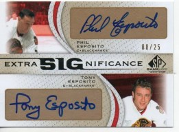 2010/11 UD Sp Game Used Dual Tony/Phil Esposito