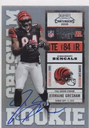 2010 Playoff Contenders Jermaine Gresham Autograph RC Ticket Card