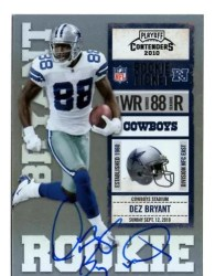 2010 Playoff Contenders Dez Bryant Autograph RC Ticket Card