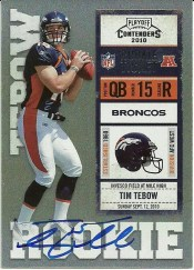 2010 Playoff Contenders Tim Tebow Blue Jersey Autograph Card