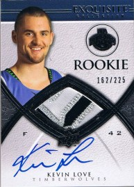 2008/09 Upper Deck Exquisite Kevin Love Autograph Jersey Rookie RC Card