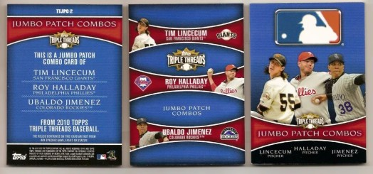 2010 Topps Triple Threads Lincecum/Halladay/Jimenez Book /1 Back