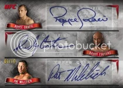 2010 Topps UFC Royce Gracie Randy Couture Pat Miletich Triple Autograph