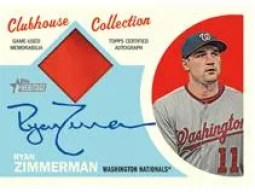 2012 Topps Heritage Ryan Zimmerman Clubhouse Collection Autograph Relic