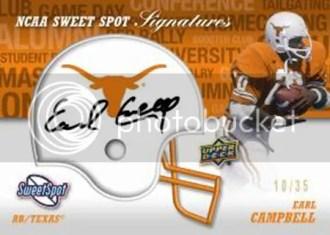 2011 Upper Deck Sweet Spot Earl Cambell Autograph Card