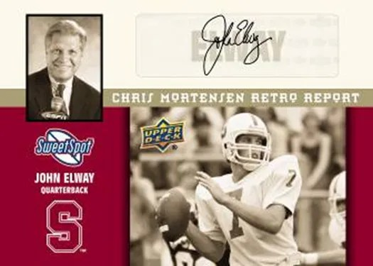 2011 Upper Deck Sweet Spot John Elway Retro Chris Mortensen Scouting Report Autograph Card