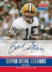 2011 Topps Super Bowl Legends Autograph Bart Star Card