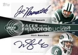 2011 Topps Football Joe Namath & Mark Sanchez Dual Autograph Faces of Franchise Card