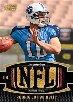 2011 Topps Prime Jumbo Relics Jake Locker Pigskin Parallel Card