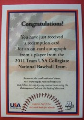 2011 Bowman Platinum USA Baseball Redemption