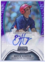 2011 Bowman Sterling Bryce Harper Purple Refractor Auto Card