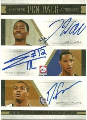 10/11 National Treasures Pen Pals 9 Evan Turner - Derrick Favors - John Wall