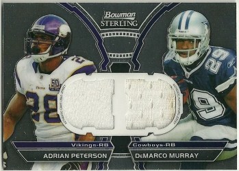 2011 Bowman Sterling DeMarco Murray & Adrian Peterson Dual Jersey Relic Card